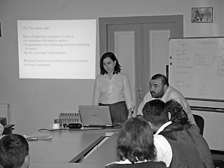 Transatlantic &amp Caucasus Studies Institute director Ziba Norman speaking at the New Economic School in Tbilisi, 22 September 2008